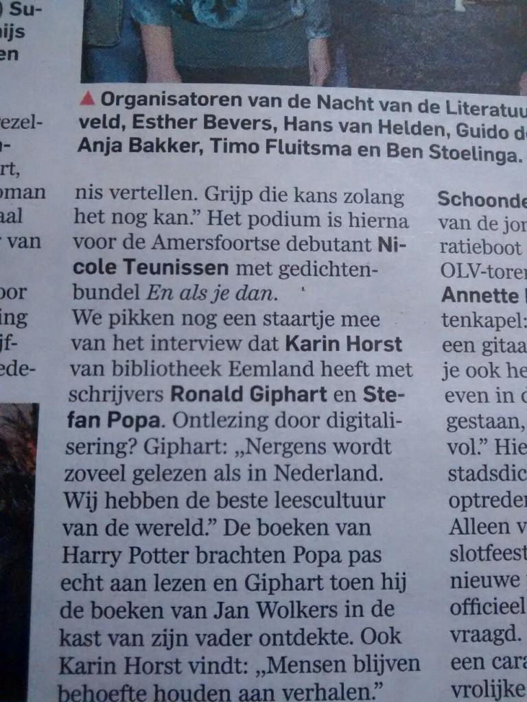 Volstrekt neutrale berichtgeving in het AD (21 september, door Marjan van Grimbergen), maar ik wás er wel, met correct gespelde naam en al.